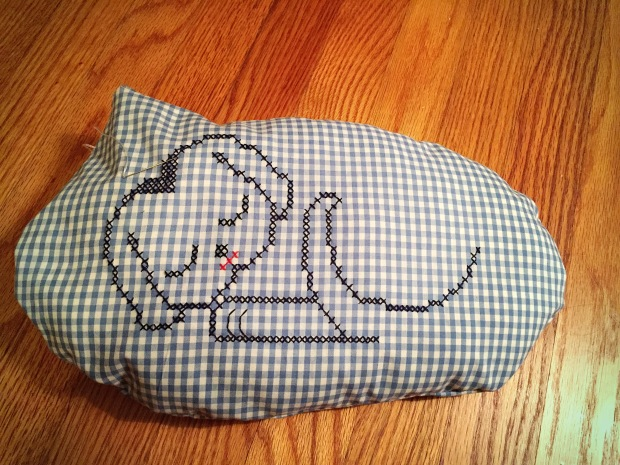 Gingham puppy nap pillow